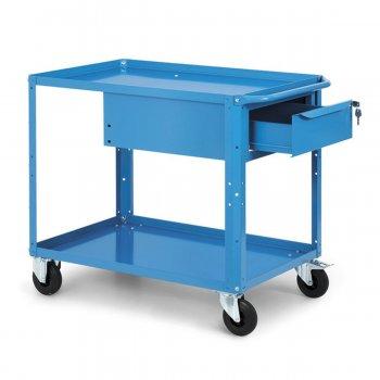 Carrello Da Lavoro A Ripiani Con Cassetto Fami Clever Large Con Ruote Blu