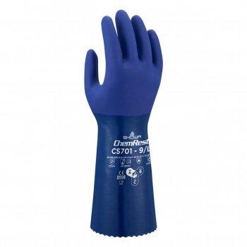 Guanti Da Lavoro In Nitrile Protezione Chimica Blu Showa Cs701 Tg. 9/l