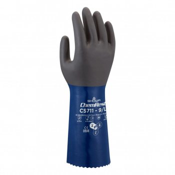 Guanti Da Lavoro In Nitrile Protezione Chimica Blu Showa Cs711 Tg. 9/l