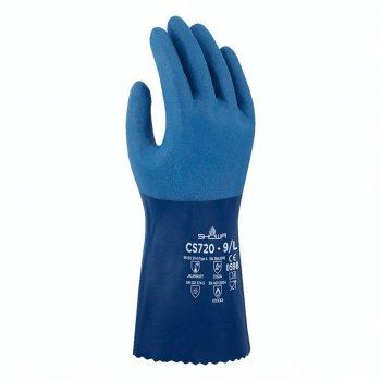 Guanti Da Lavoro In Nitrile Protezione Chimica Blu Showa Cs720